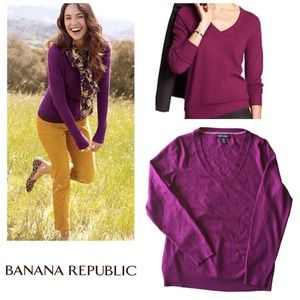 BANANA REPUBLIC Sz L Merino Wool v-neck sweater